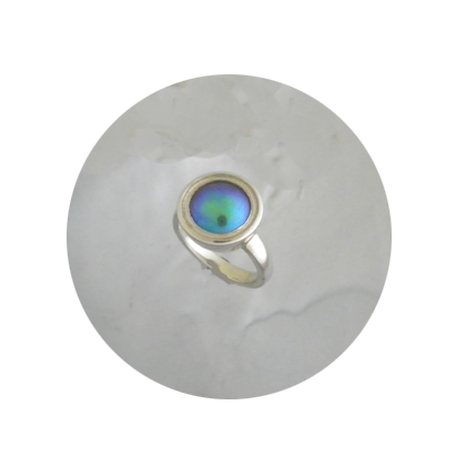 Sterling Silver Ring. 10 mm A Grade Brereton Blue Pearl.