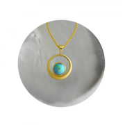 18ct Yellow Gold Pendant. 11 mm A Grade Brereton Blue Pearl