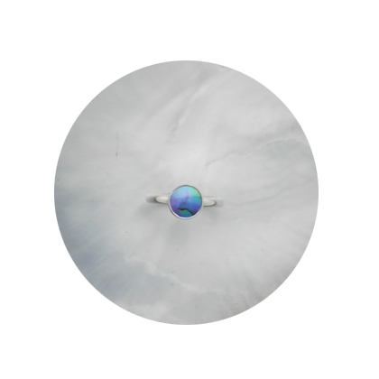 -SOLD-Sterling Silver Ring. 9 mm A Grade Brereton Blue Pearl.